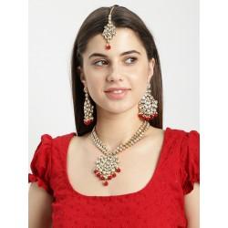 индийские украшения - ожерелье, тика, серьги розовый цвет