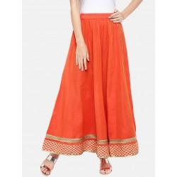 длинная индийская оранжевая юбка L