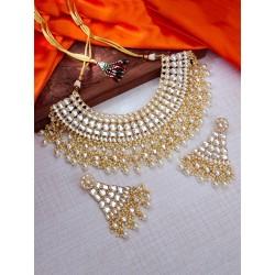 индийское ожерелье и серьги белый цвет