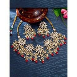индийские украшения - ожерелье и серьги - красный цвет