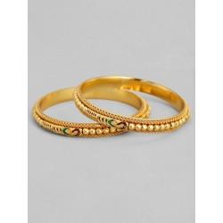 пара индийских браслетов золотистых с эмалью