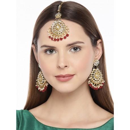 индийские украшения - тика и серьги - бордовый цвет