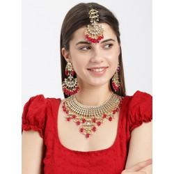 комплект индийских украшений рубиновый