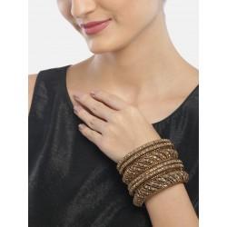 комплект индийских браслетов со стразами состаренное золото