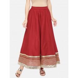 индийская юбка красная с золотистой каймой М