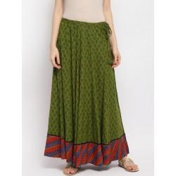 индийская юбка длинная зеленая L