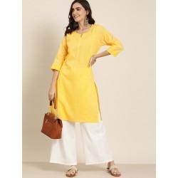 индийская туника желтая с вышивкой S