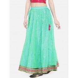 индийская юбка бирюзовая с яркой каймой M/L