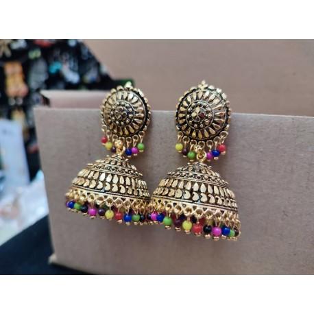индийские серьги джумки с цветными бусинами